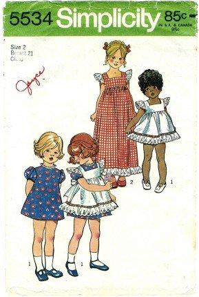- Simplicity 5534 Sewing Pattern Toddler Girls Pinafore & Dress Size 4 Vintage 1973