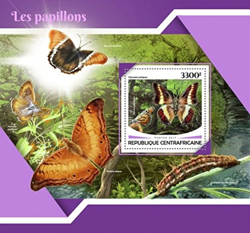 Central Africa - 2017 Butterflies - Stamp Souvenir Sheet - (Butterflies Souvenir Sheet)