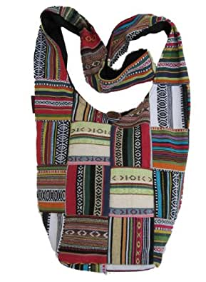 Tribal Bohemian Patched Woven Cotton Long Shoulder Bag