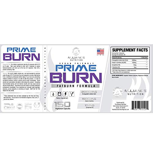 Prime Burn Fat Burner - Fat Loss Supplement, Increase Weight Loss, Energy and Focus, Premium Fat Burning CLA, Acetyl L-Carnitine, Yohimbe HCL, More - (150 Capsules)