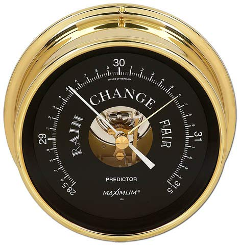 Maximum Weather Instruments Predictor Barometer - Brass case, Black dial