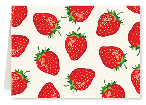 (Faux Designs Strawberries Foil Embossed Blank Folded Note Card Set of 8)