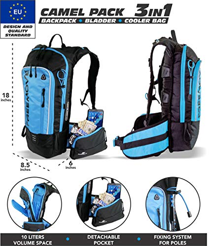 No.1 Hydration Pack Backpack with 2L Water Bladder & Cooler Bag KEEPS DRINK COOL | Lightweight – Fully Adjustable – Leakproof | Multiple Compartments | 6L Capacity | Camel Pack For Sports Enthusiast