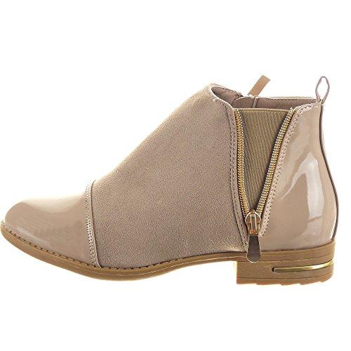 A Moda medio CM brillantes Cremallera Caqui ancho Tacón Talón Boots de Chelsea Botines muslo mujer 2 Zapatillas 5 Sopily wF0Yn1Tq