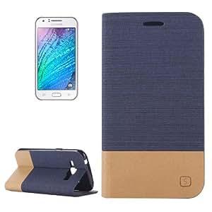 Horizontal Flip Canvas Leather Case with Card Slot & Holder for Samsung Galaxy J1 (Dark Blue)