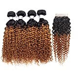 IMAYLI Ombre Curly Hair Bundles with Closure Wet and Wavy Kinky Curly Ombre Human Hair Weave 2 Tone Deep Wave Hair Extensions T1B/30 Color(14 14 14 14+12)