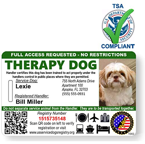 Just 4 Paws Custom Holographic QR Code Therapy Dog ID Card with Registration to Service Dogs Registry with Strap - Landscape Style