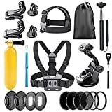Neewer 22-in-1 Action Camera Accessory Kit for GoPro Hero 6 5: Chest Strap, Head Strap, Car Suction Cup, Handheld Monopod, Floating Grip, Lens Adapter Ring, ND4/ND8/ND16/ND32/UV/CPL Filter and More