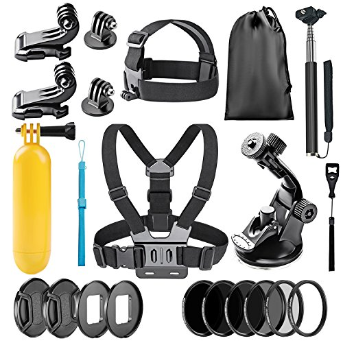 Neewer 22-in-1 Action Camera Accessory Kit for GoPro Hero 6 5: Chest Strap, Head Strap, Car Suction Cup, Handheld Monopod, Floating Grip, Lens Adapter Ring, ND4/ND8/ND16/ND32/UV/CPL Filter and More by Neewer