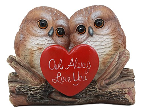Ebros Romantic Owl Couple Statue Wisdom of The Forests Love Birds Pair of Owls Holding Heart Shaped Sign Saying Owl Always Love You Decorative Figurine 5.25