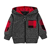 Baby Clothes Set,Infant Baby Boys Girls Plaid Hooded Zipper Tops Sweatshirt Warm Coat Outfits+Christmas Pents Set Gray