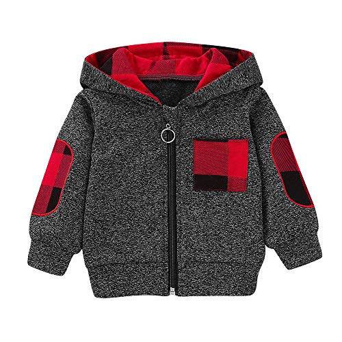 Fheaven Thicken Fur Lined Coat,Baby Boys Girls Winter Plaid Hooded Zipper Tops Sweatshirt Warm Coat Outfits (3-6 Months, Gray) ()