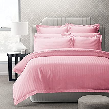 a830cc7045 Buy Story@Home Forever XL 300 TC 100% Cotton Solid Satin Plain Double King  Size Bedsheet with 2 Pillow Covers, Pink Online at Low Prices in India -  Amazon. ...