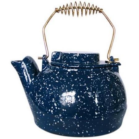 Uniflame 2.5 Quart Porcelain Coated Kettle-Blue with White Speckles