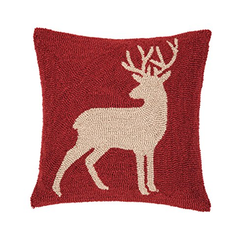 C F Home Buck Lodge Cabin Holiday Christmas Winter Xmas Red Tan Handcrafted Premium Hooked Decorative Throw Pillow 18 x 18 Deer Red