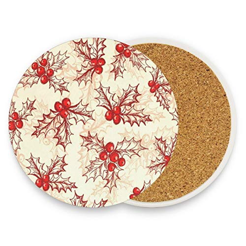 Coasters for Drinks,Holly Berry Winter Christmas Ceramic Round Cork Trivet Heat Resistant Hot Pads Table Cup Mat Coaster-Set of 4 Pieces