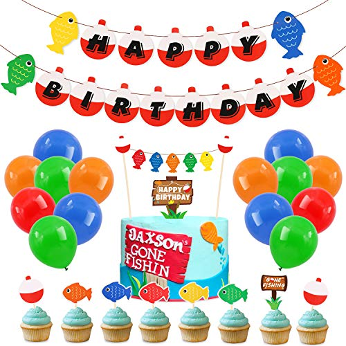 70 Pack Gone Fishing Happy Birthday Party Kits Little Fisherman The Big One Banner Cake Topper Cupcake Topper Balloons Decorations Kids Photo Props Summer Reel Fun Ideas -