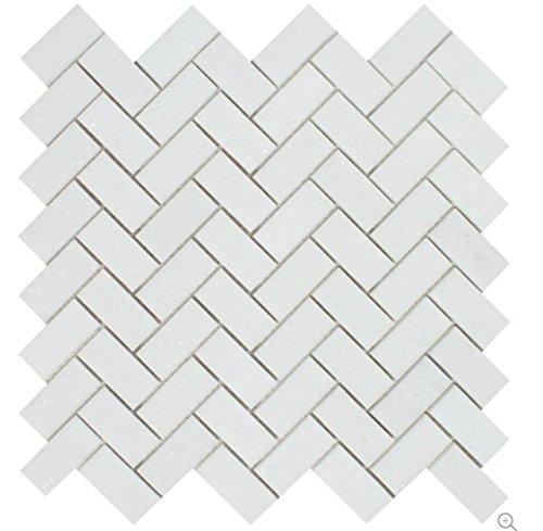 Greek Thassos White Marble 1 X 2 Herringbone Mosaic Tile, Polished -