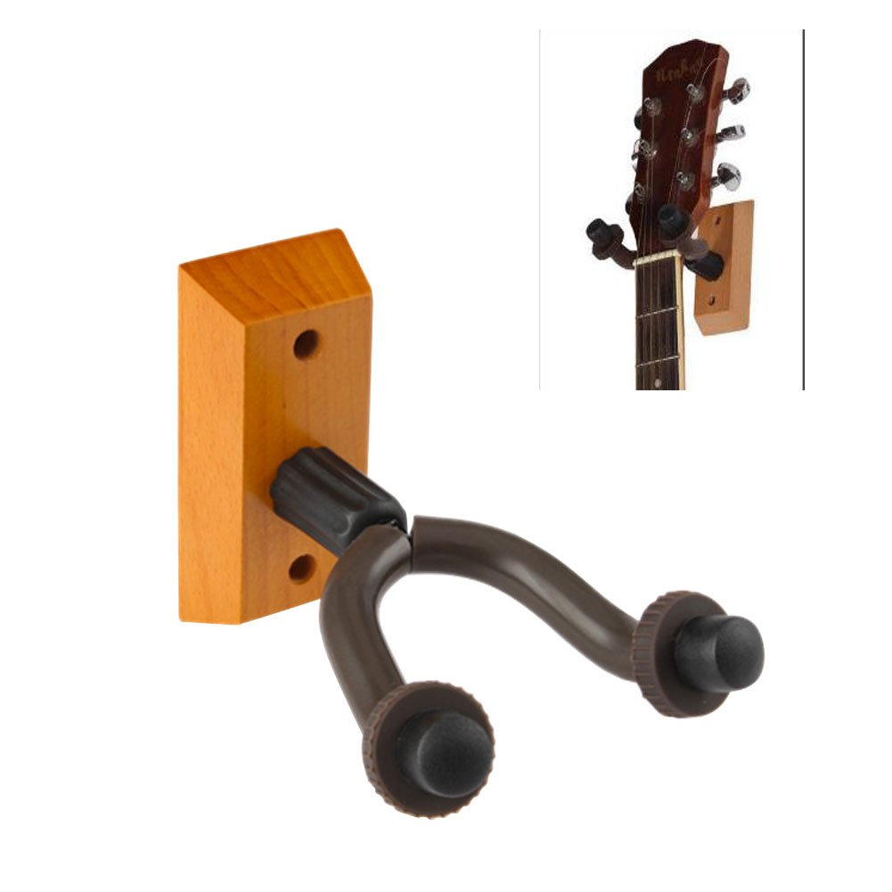 Mike Home Heavy Duty Wall Mount Display Guitar Hanger Wood Base Guitar Hook Fits Guitars,Bass,Ukulele Pack of 1 by Mike Home (Image #1)