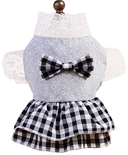 Costume Design Courses London - Freerun British Style Lace Mesh Plaid Soft Cotton Dress Skirt Costumes for Small Pet Dog Cat Puppy - BlackWhite, L