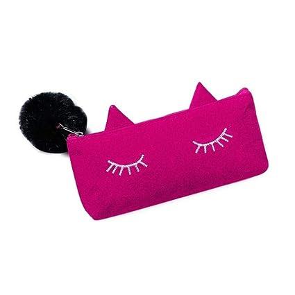 fd4882c1b7 Tpingfe Cat Eye Eyelashes Pencil Case, Pretty Student School Stationery  Plush Pen Box (Hot