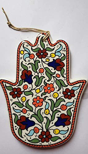 Home Blessing Hamsa Colourful Flowers Armenian Ceramic Israeli Gift ()