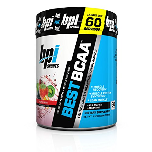 BPI Sports Best BCAA - BCAA Powder - Branched Chain Amino Acids - Muscle Recovery - Muscle Protein Synthesis - Lean Muscle - Improved Performance – Hydration – Fruit Punch - 60 Servings - 1.32 Pound ()