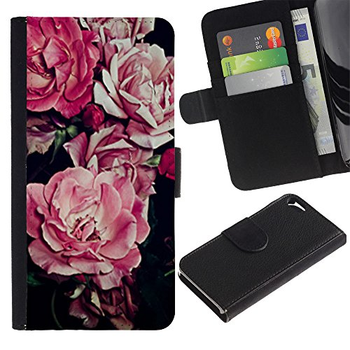 A-type (Begonia Pink Flower Floral Pattern Black) Colorful Impression Holster Cuir Wallet Cover Housse Peau Cas Case Coque Pour Apple Iphone 5 / 5S