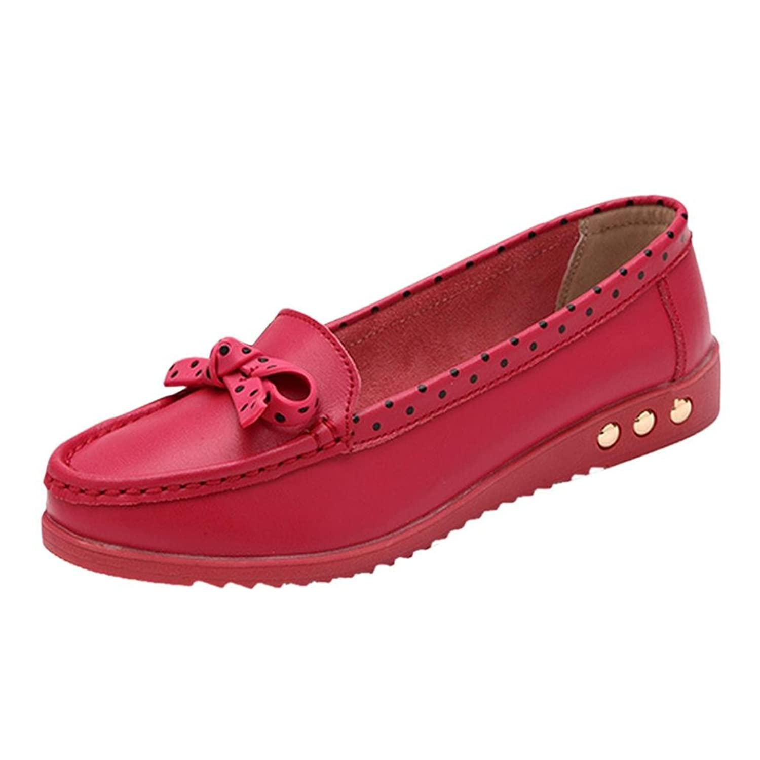 Datework Women Bowknot Slip On Comfort Flat Loafers Shoes