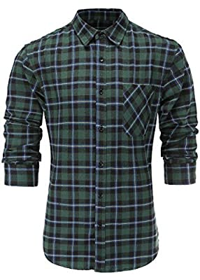 Emiqude Men's Casual 100% Cotton Slim Fit Long Sleeve Plaid Dress Shirt