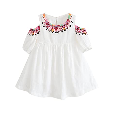 9927d99856b4 Fineser Toddler Baby Girl Summer Floral Print Off Shoulder Dress Princess  Playwear Dresses (White, 2-3 T): Amazon.in: Baby
