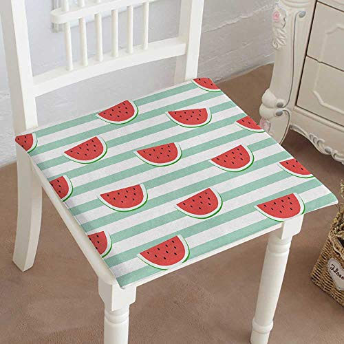 Mikihome Chair Pads Classic Design red Watermelon Slice Design on Striped Blue Background Wallpaper Backdrop Cotton Canvas Futon 30'x30'x2pcs