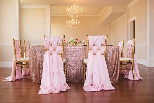 TRLYC 60 x 120-Inch Rectangular Sequin Tablecloth Blush