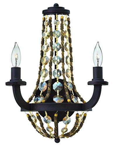 Fredrick Ramond Crystal Sconce (Fredrick Ramond FR42862VBZ Two Light Vintage Bronze Hex Crystal Strands Glass Wall)