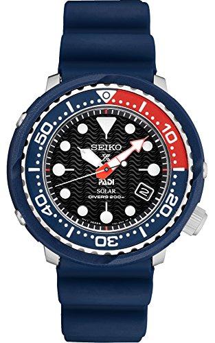 Seiko PADI Special Edition Prospex Solar Dive Watch with Black Silicone Strap 200 m SNE499 - Seiko Polyurethane Watch
