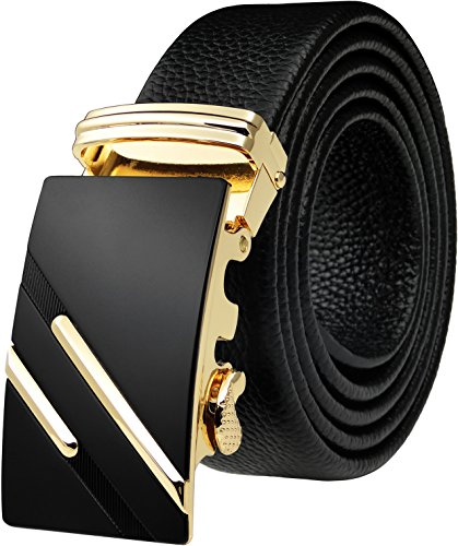 Blasea Ultra Soft Leather Automatic Buckle Ratchet Belts for Men 579 Gold Black 115cm (Soft Leather Buckle Belt)