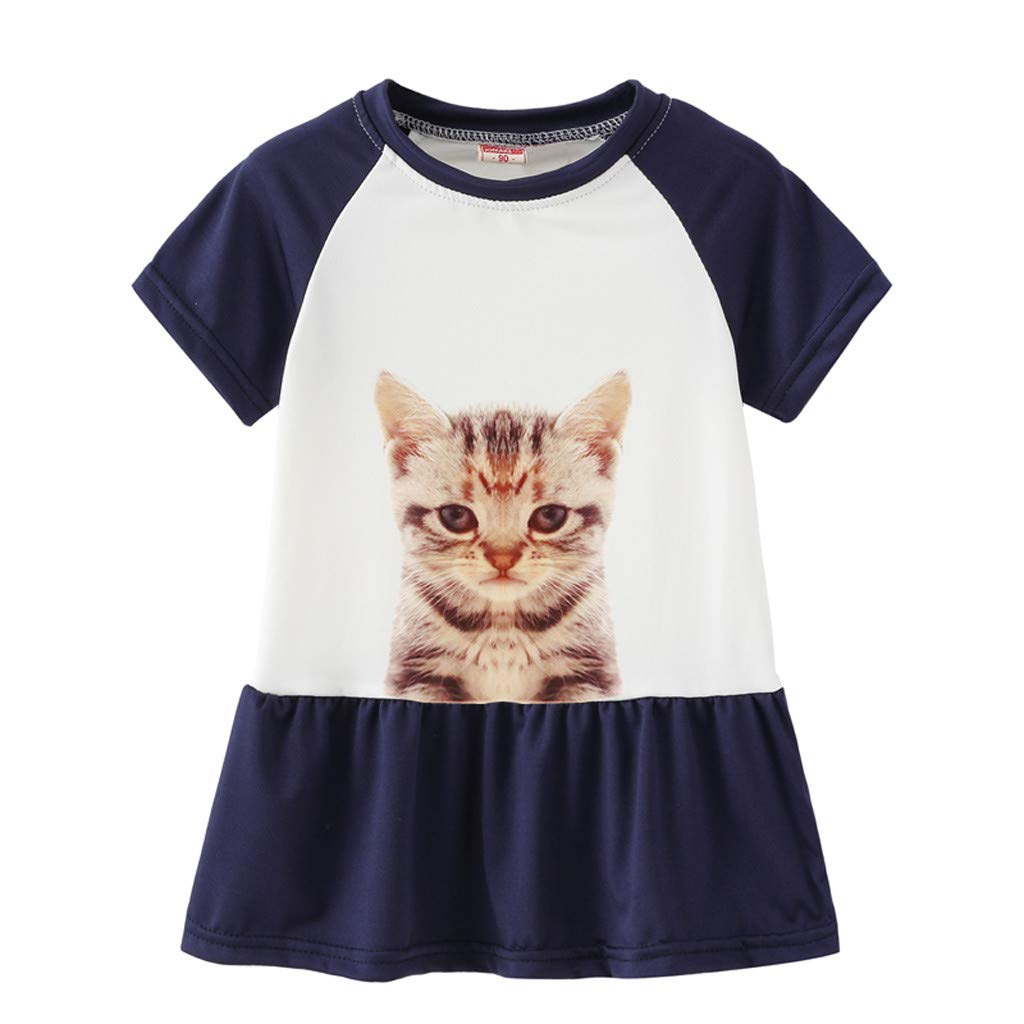 Infant Toddler Baby Girls Summer Cartoon Cat Print Princess Sundresses Outfits
