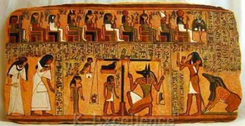 Ancient Egyptian BOOK OF THE DEAD Hand-Painted 3D Wall Hanging Plaque