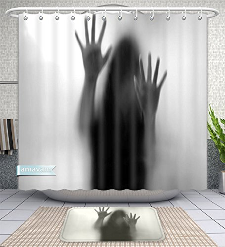 Unique Custom Bathroom 2-Piece Set Horror House Decor Silhouette Of Woman Behind The Veil Scared To Death Obscured Paranormal Photo Gray Shower Curtains And Bath Mats Set, 71''Wx79''H & 31''Wx20''H by Amavam