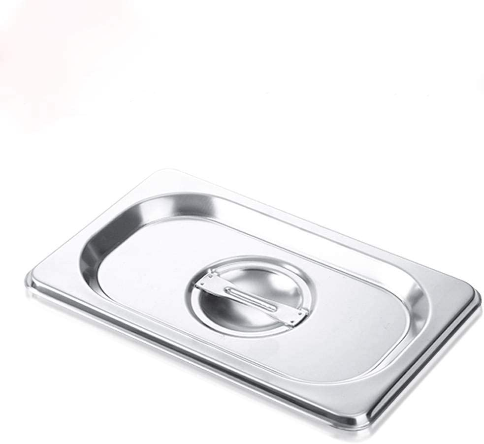 1/9 Size Stainless Steel Solid Steam Table Pan Cover, Kitma Pan Lids, Non-Stick Surface, Lid for 1/9 Size Steam Pans with Handle - 12 Pack