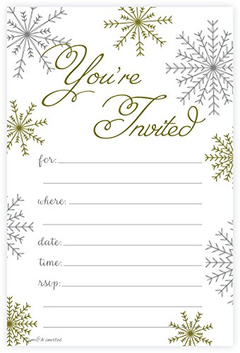 Christmas Invitations - Snowflake Classic Christmas Invitations - Fill In Style (20 Count) With Envelopes