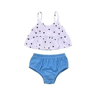 14e316eab6 Baby Girls 2 Pieces Set Bikini Summer Beach Heart Print Swimsuit Swimwear  Tankini Swimming Costume Bathing Suit Beachwear (,): Amazon.co.uk: Clothing