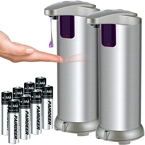 Automatic Soap Dispenser Lovin Product Auto Sensor Touchless Soap Dispenser with Brushed StainlessSteel Fingerprint Resistant Coating and Waterproof Base Perfect for Use in Bathrooms 2 Pack