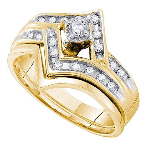 Chevron Diamond Engagement Ring & Wedding Band Set 14k Yellow Gold Bridal Set Round Side Stones 1/4 - Diamond Set Flower Bridal