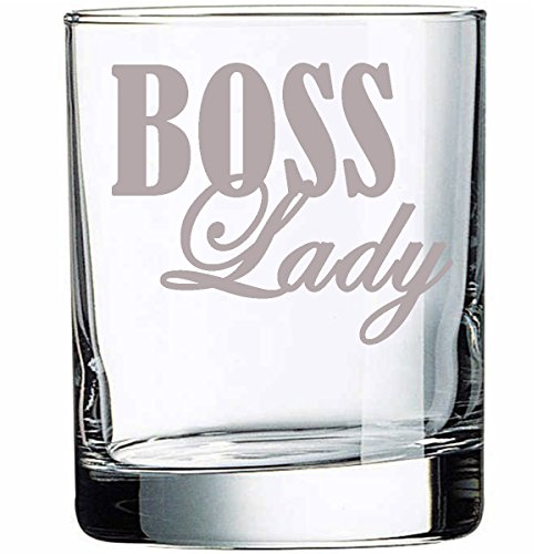 G070 Boss Lady Rocks Glass Highball Glass, Wife, Wifey, Girlfriend, Grandma, Grandmother, Gift present Mother