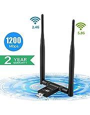 USB WiFi Adaptador 1200Mbps, SUPOLA WiFi Antena 5dbi Wireless Network USB 3.0 Dual Band 2.4GHz/5.8GHz 867Mbps WiFi Dongle para Laptop/PC, Receptor WiFi USB para Win7/8/10/XP/Vista/MacOS X 10.6-10.14