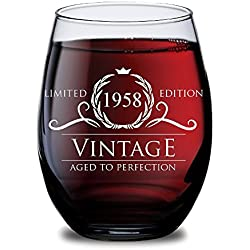 1958 60th Birthday Gifts for Women and Men Wine Glass - Funny Vintage Anniversary Gift Ideas for Him, Her, Husband or Wife. Cups for Dad and Mom. 15 oz Glasses - Red, White Wines Party Favors Decorati