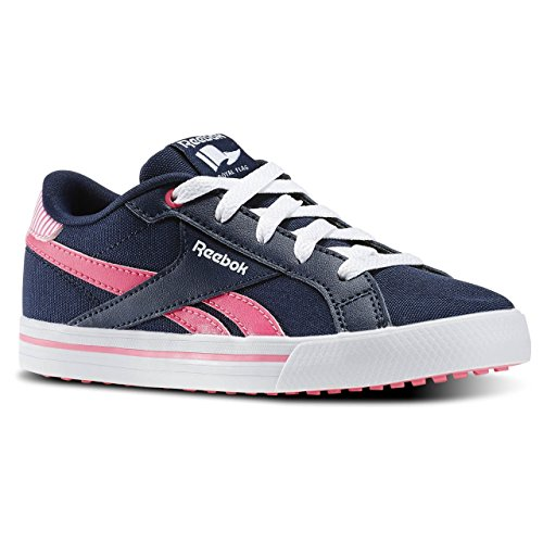 Reebok Royal Comp Low CVS - Zapatillas de tenis, Niñas Azul / Rosa / Blanco (Collegiate Navy / Solar Pink / Wht)