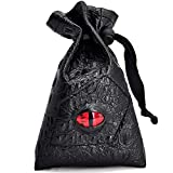 Drawstring Bag PU Leather Dice Pouch Perfect for Coin RPG, D&D, Game