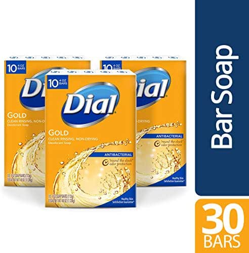 Dial Antibacterial Bar Soap, Gold, 30 Count